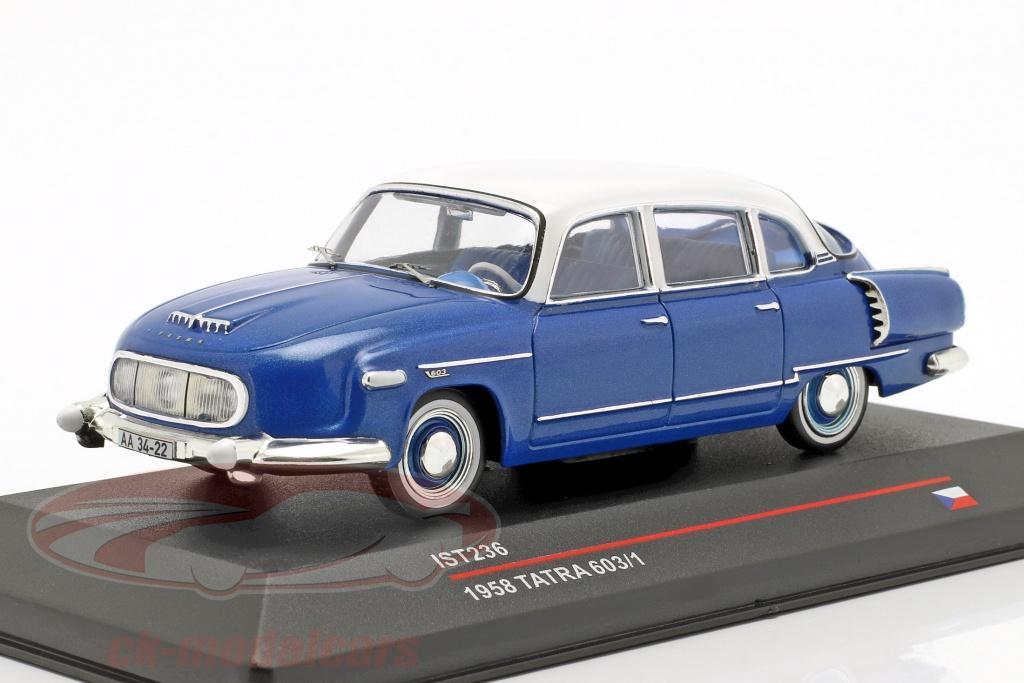 ixo-1-43-tatra-603-1-year-1958-blue-metallic-white-ist236/