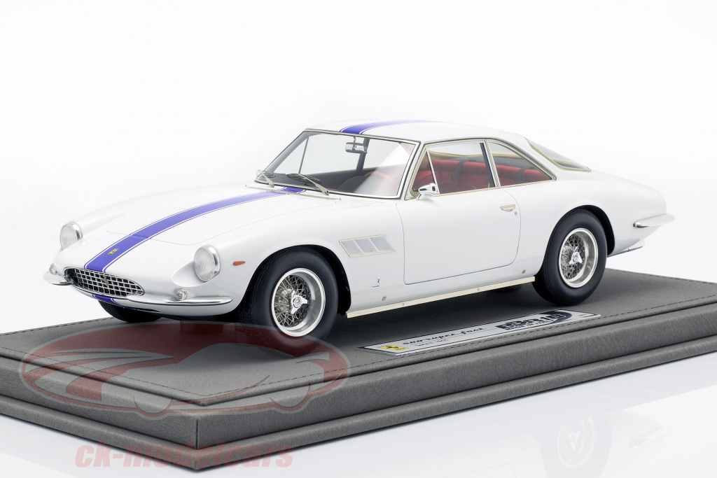 bbr-models-1-18-ferrari-500-superfast-series-ii-year-1965-white-with-blue-stripe-bbr1841c/