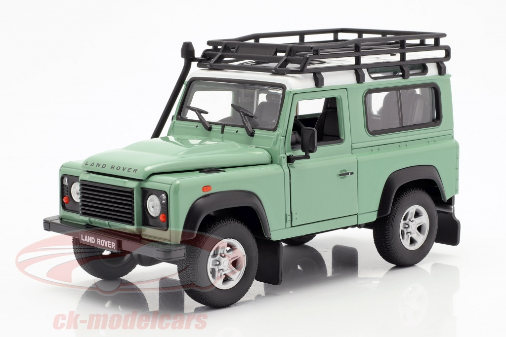 welly-1-24-land-rover-defender-with-roof-rack-green-white-22498spgnw/