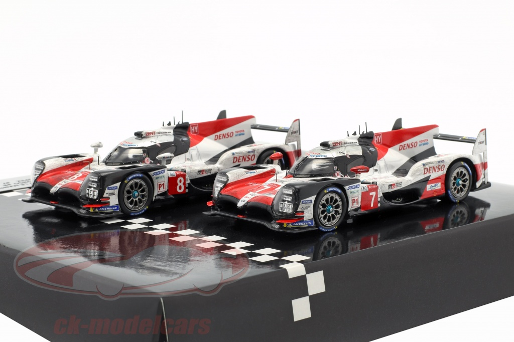 spark-1-43-2-car-set-toyota-ts050-hybrid-no8-no7-finish-24h-lemans-2018-ty13143jwm/