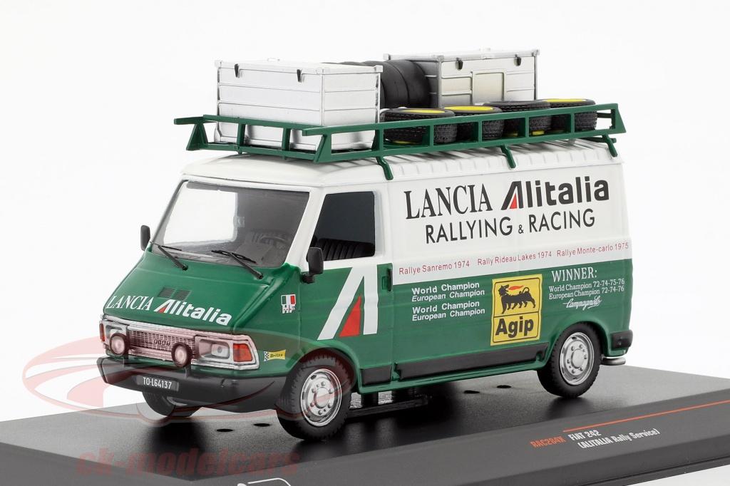 ixo-1-43-fiat-242-furgone-alitalia-lancia-rallye-service-1974-verde-bianco-rac284x/