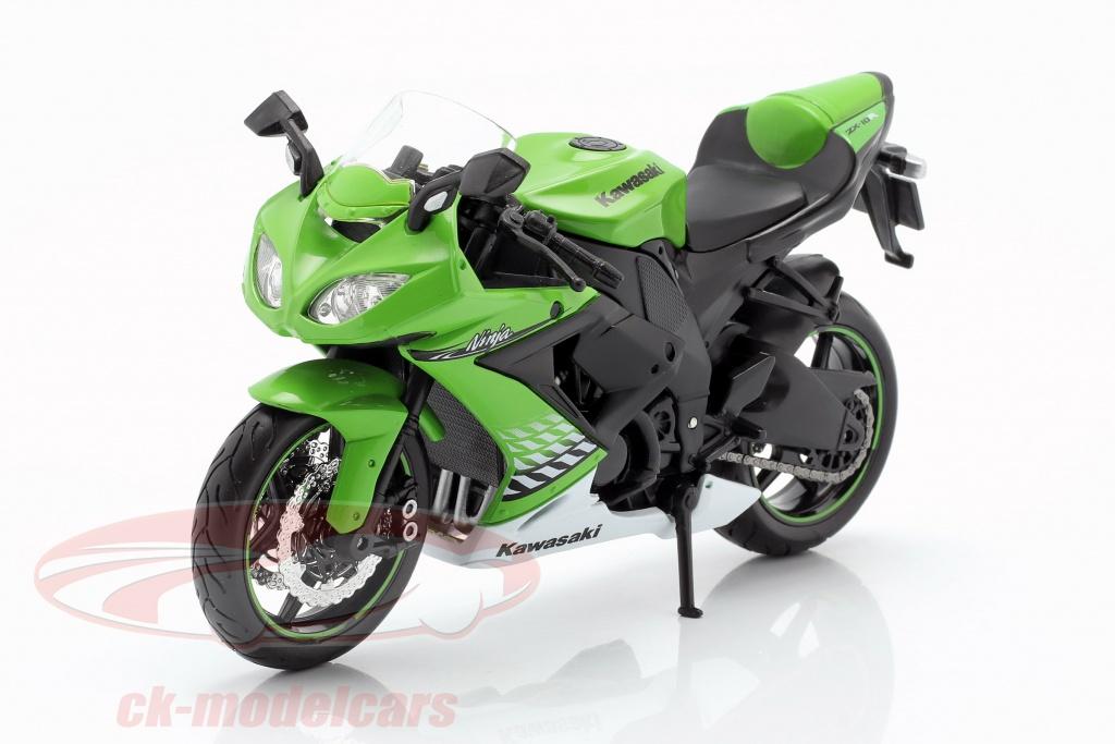 maisto-1-12-kawasaki-ninja-zx-10r-anno-di-costruzione-2010-verde-bianco-nero-31187/