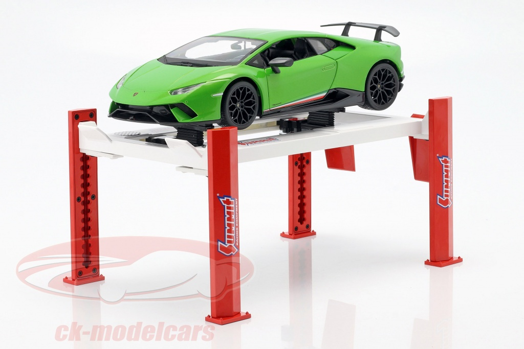 greenlight-1-18-adjustable-four-post-hydraulic-lift-red-white-for-model-cars-in-13549/