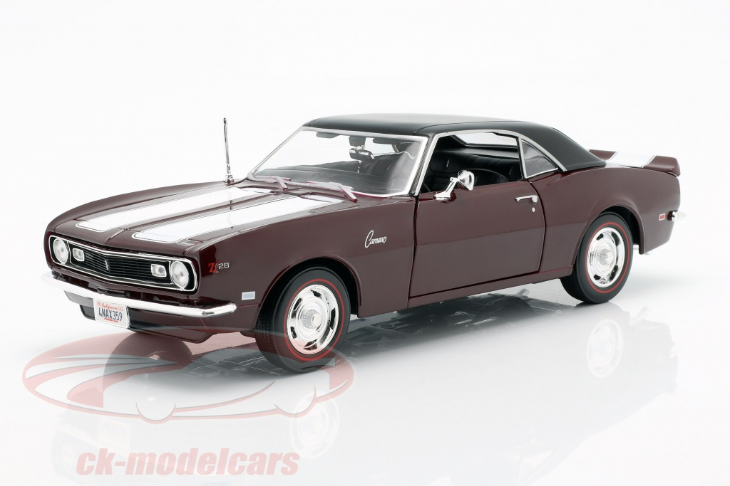 maisto-1-18-chevrolet-camaro-z-28-jaar-1968-donker-rood-met-wit-strip-31685/