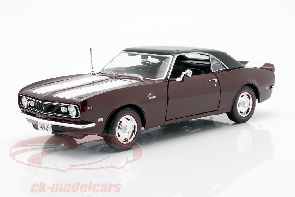 maisto-1-18-chevrolet-camaro-z-28-year-1968-dark-red-with-white-strip-31685/