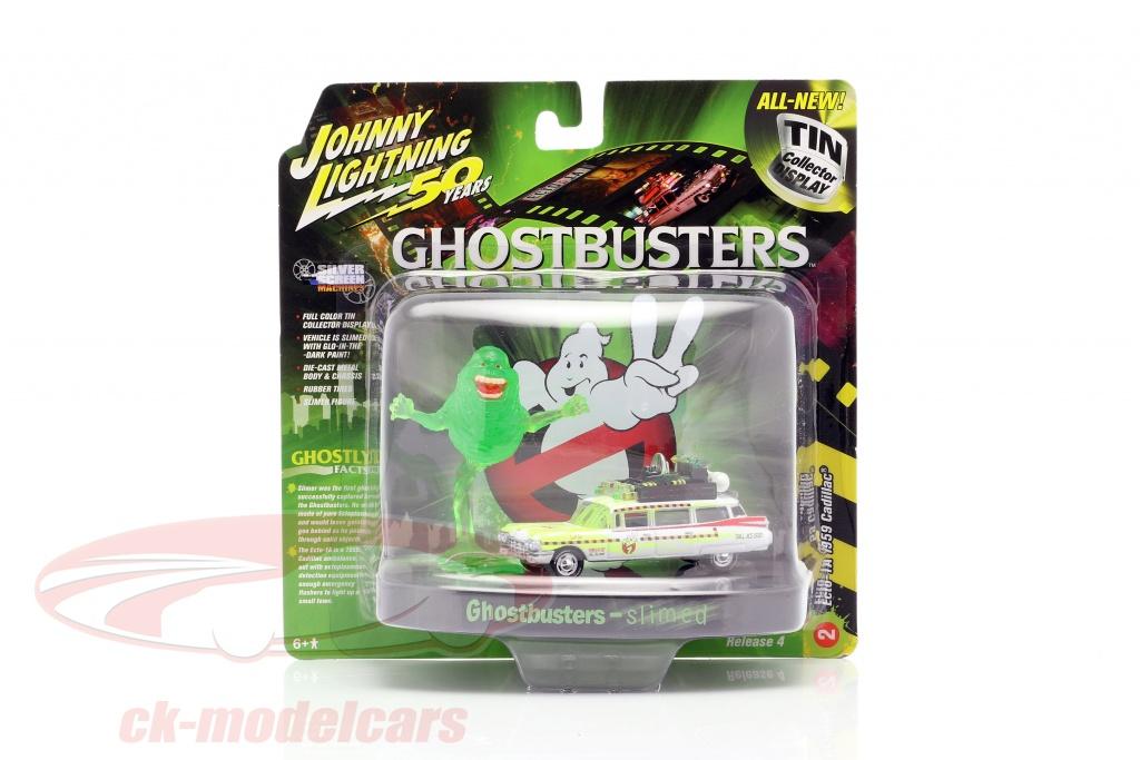 johnnylightning-1-64-cadillac-eldorado-ecto-1a-1959-ghostbusters-med-figur-slimer-johnny-lightning-jlsp078-jldr010/