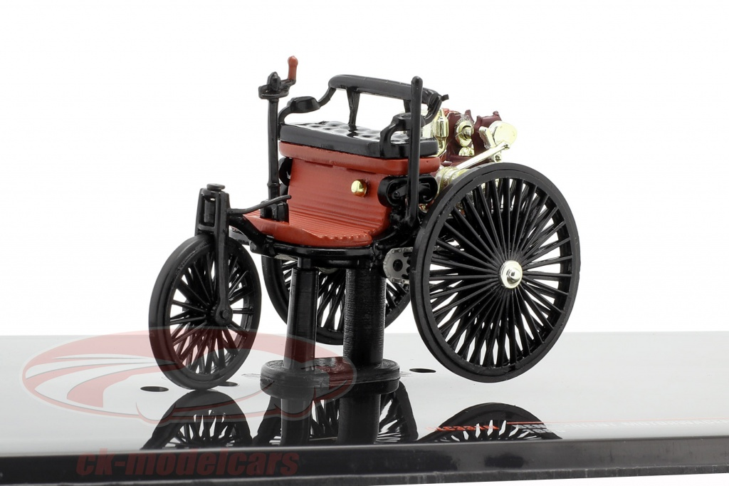 ixo-1-43-benz-carro-de-patente-ano-de-construcao-1886-preto-vermelho-marrom-clc331n/
