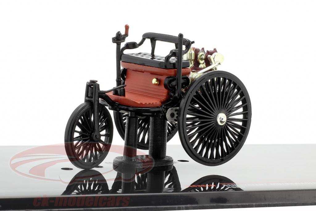 ixo-1-43-benz-voiture-a-moteur-brevetee-annee-de-construction-1886-noir-brun-rouge-clc331n/