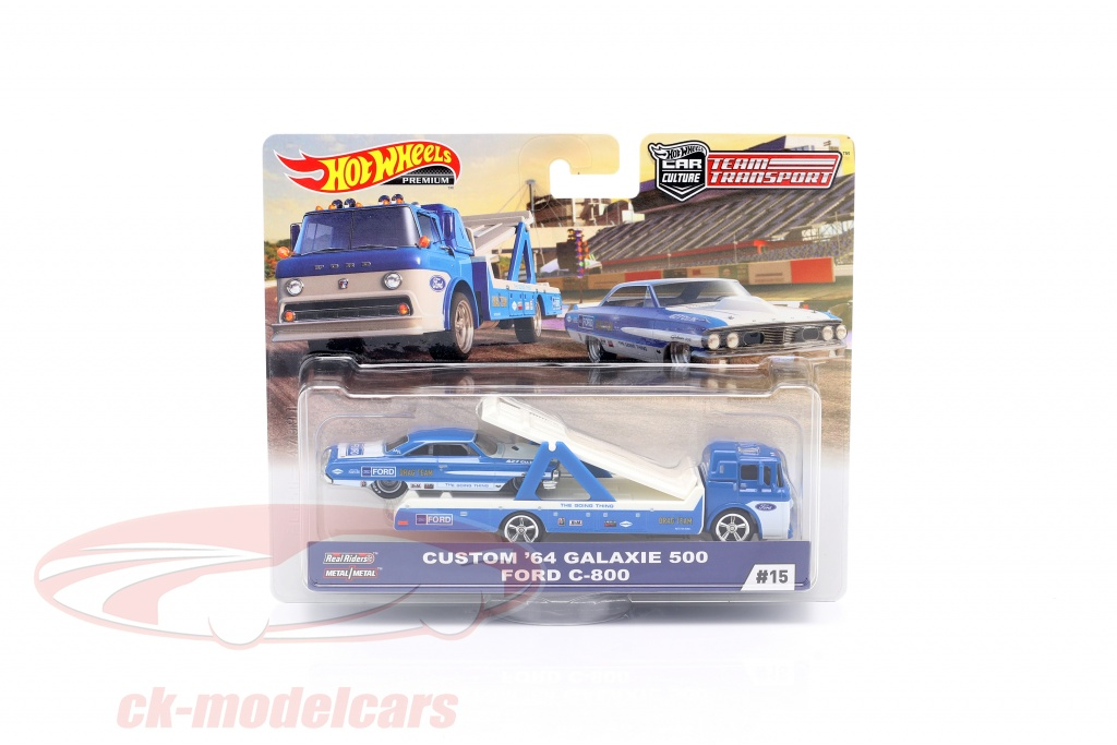 hotwheels-1-64-set-team-transport-ford-custom-galaxie-500-1964-ford-c-800-fyt15-no15-flf56/