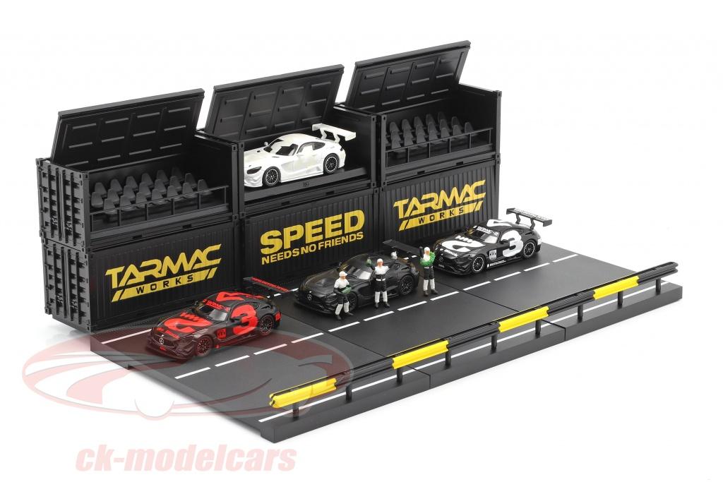 tarmac-works-1-64-4-car-set-mercedes-benz-amg-gt3-no3-with-pit-lane-diorama-t64-008-4a3box/