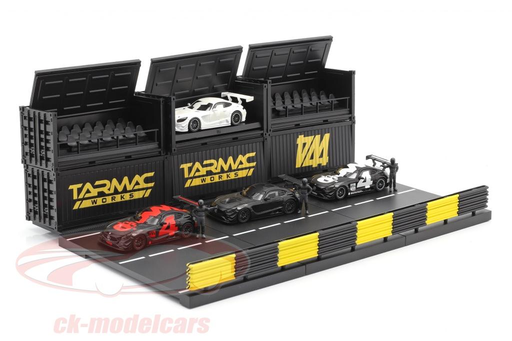 tarmac-works-1-64-4-car-set-mercedes-benz-amg-gt3-no4-con-diorama-pit-lane-t64-008-4a4box/