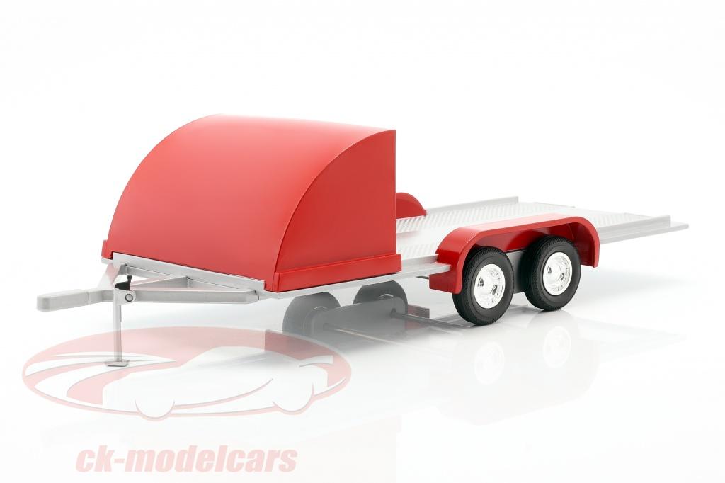 autoworld-vier-wiel-open-auto-trailer-rood-zilvergrijs-1-18-amm1167/