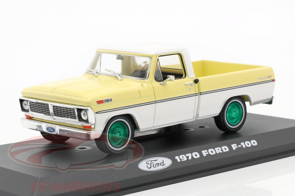 greenlight-1-43-ford-f-100-pick-up-bouwjaar-1970-geel-wit-groen-velgen-86339-gruene-version/