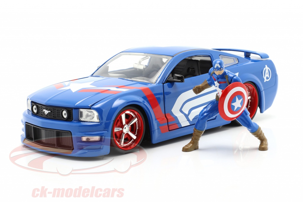 jadatoys-1-24-ford-mustang-gt-2006-with-figure-captain-america-marvel-avengers-31187/