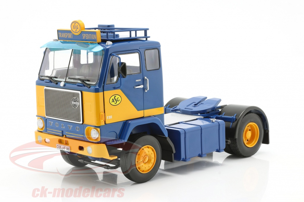 road-kings-1-18-volvo-f88-vrachtauto-asg-transport-1965-blauw-geel-rk180061/
