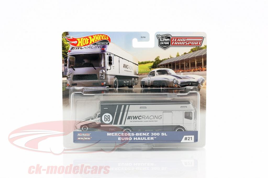 hotwheels-1-64-set-team-transport-mercedes-benz-300-sl-euro-hauler-gjt43-no21-flf56/