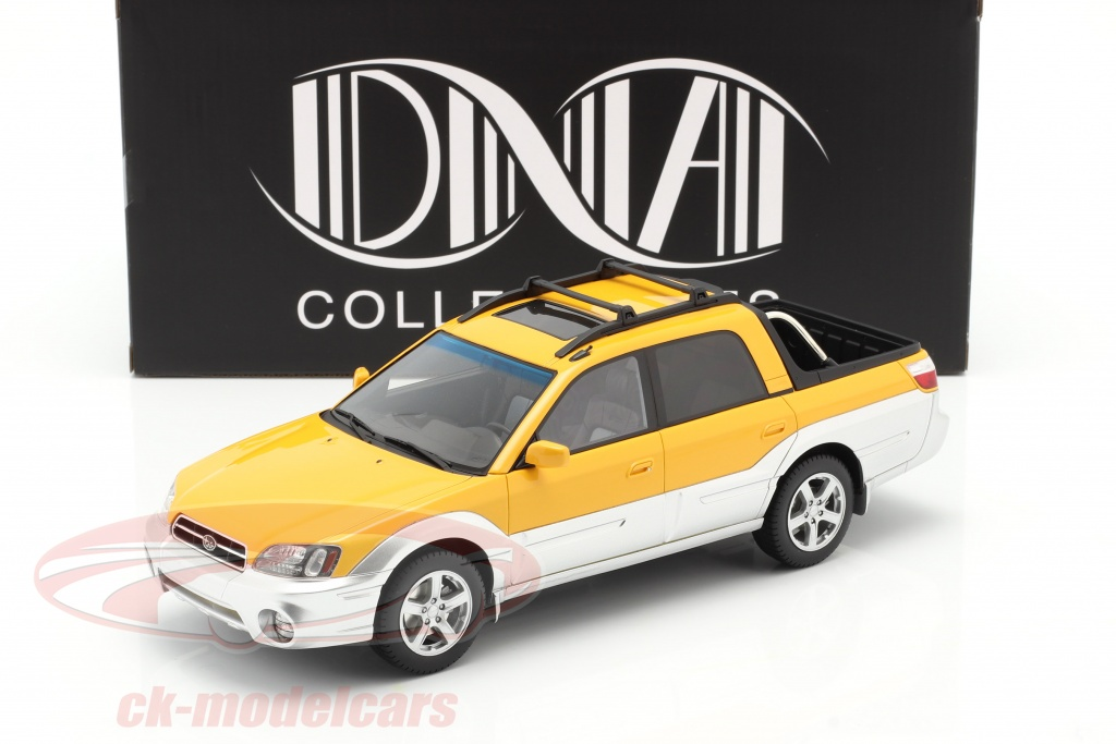 dna-collectibles-1-18-subaru-baja-pick-up-baujahr-2003-gelb-silber-dna000050/