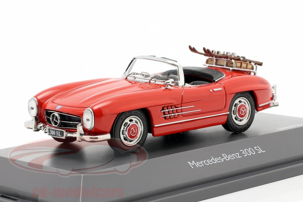 schuco-1-43-mercedes-benz-300-sl-roadster-w198-vacances-au-ski-annee-de-construction-1957-1963-rouge-450268900/