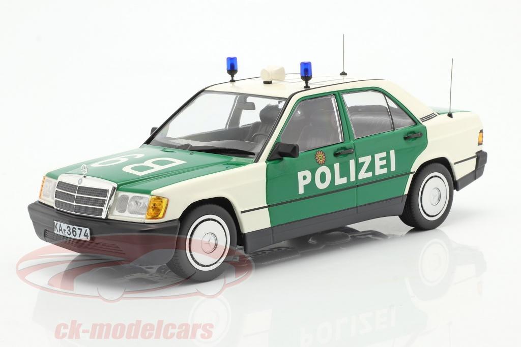 minichamps-1-18-mercedes-benz-190e-w201-politi-bygger-1982-grn-hvid-155037090/