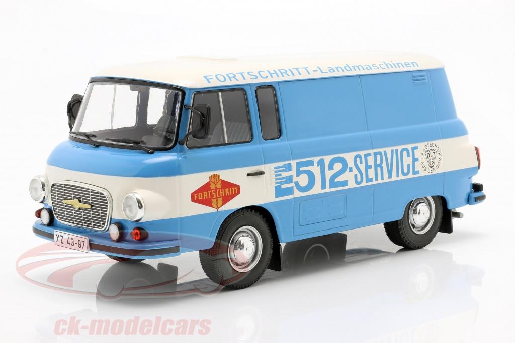 modelcar-group-1-18-barkas-b-1000-kastenwagen-fortschritt-service-blu-bianca-mcg18211/