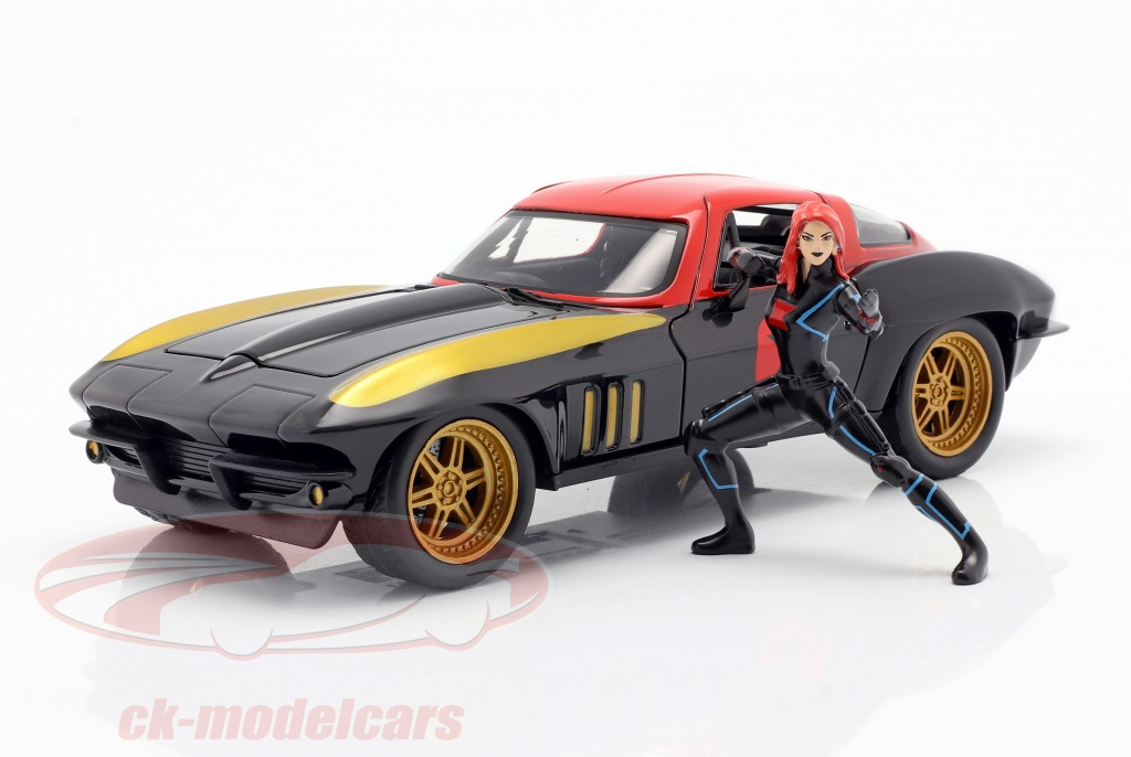 jadatoys-1-24-chevrolet-corvette-1966-with-figure-black-widow-marvel-avengers-253225014/
