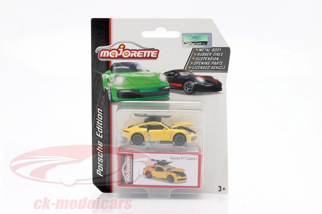 majorette-1-64-porsche-911-carrera-s-coupe-med-ski-gul-ck62868/