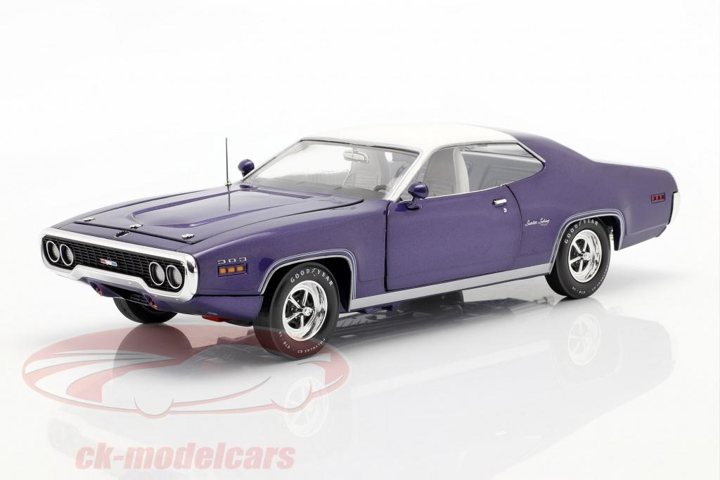 autoworld-1-18-plymouth-satellite-sebring-plus-ano-de-construccion-1971-violeta-metalico-blanco-amm1146/
