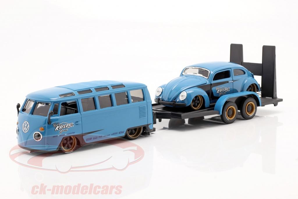 maisto-1-24-3-car-set-volkswagen-vw-samba-bus-con-trailer-e-vw-scarabeo-32752/