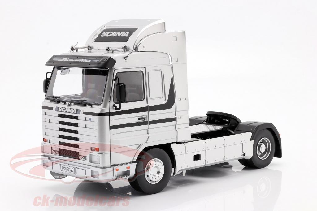 road-kings-1-18-scania-143-streamline-vrachtwagen-bouwjaar-1995-zilver-zwart-rk180103/