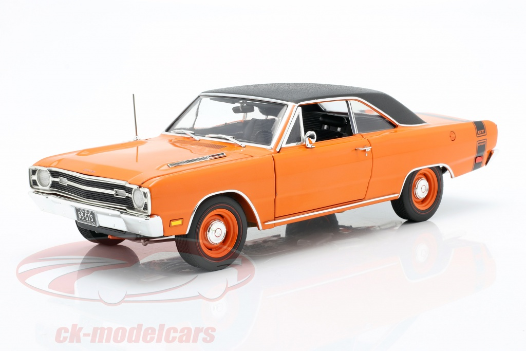gmp-1-18-dodge-dart-gts-440-with-vinyl-top-year-1969-orange-black-1806404vt/