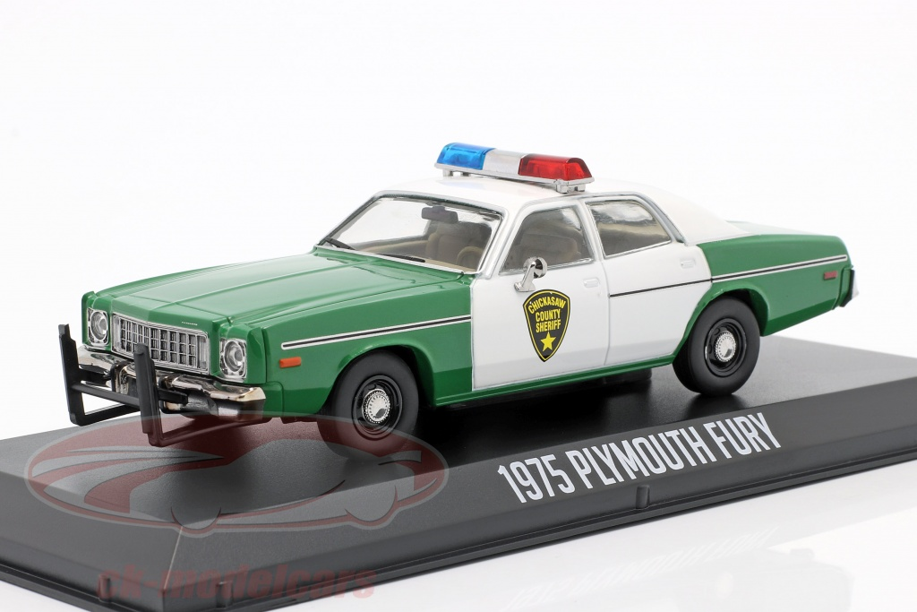 greenlight-plymouth-fury-chickasaw-sheriff-annee-de-construction-1975-vert-blanc-1-43-86595/