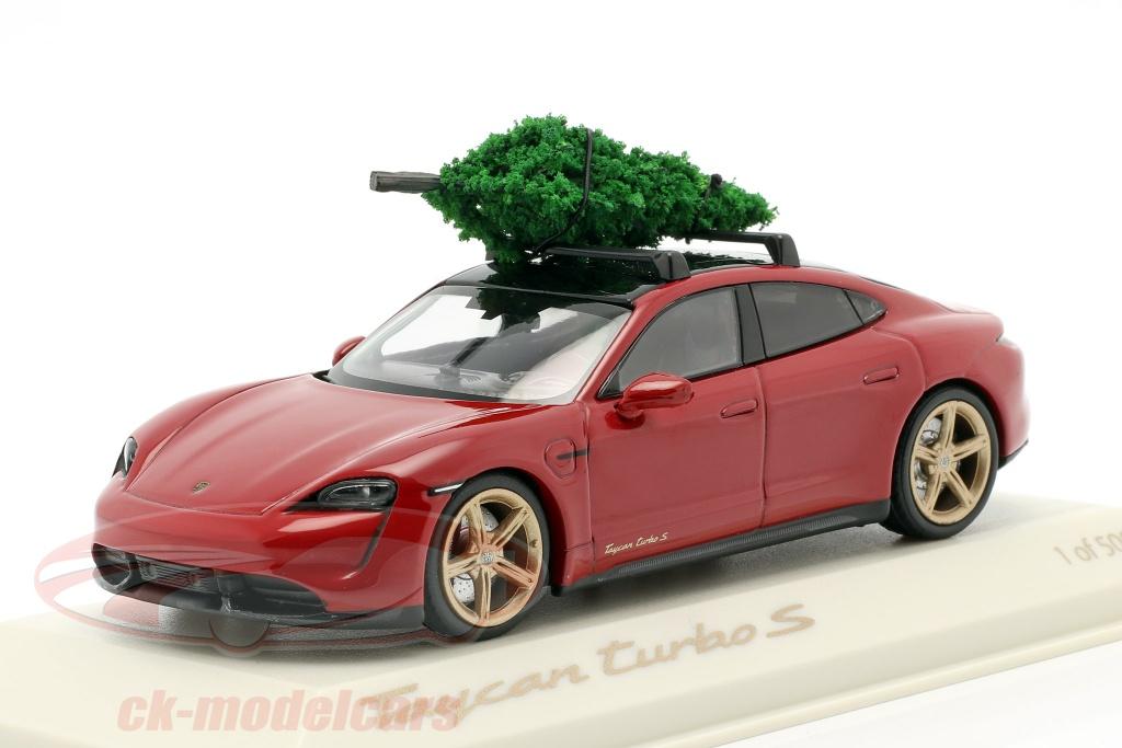 minichamps-1-43-porsche-taycan-turbo-s-carminio-rosso-con-albero-di-natale-wap0200000mplg/