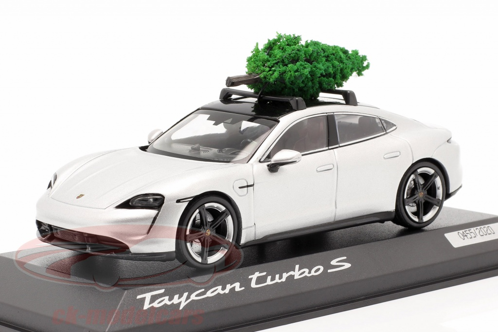 minichamps-1-43-porsche-taycan-turbo-s-dolomite-silver-with-christmas-tree-wap0207800mchr/