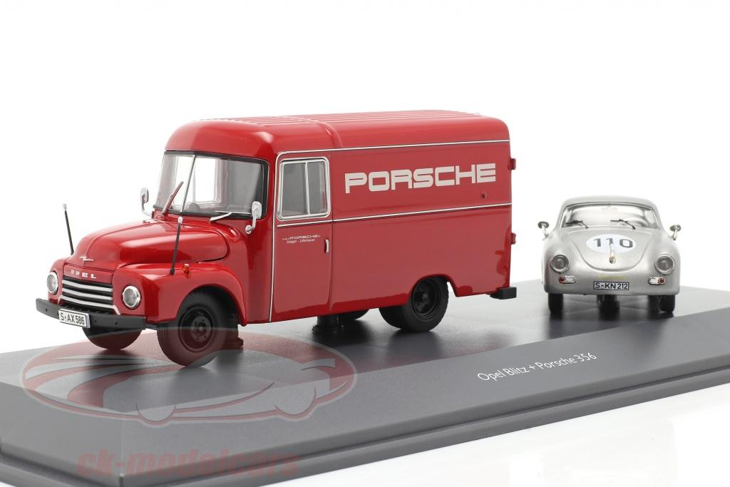 schuco-1-43-2-car-set-opel-blitz-175t-red-and-porsche-356-no110-silver-450309200/
