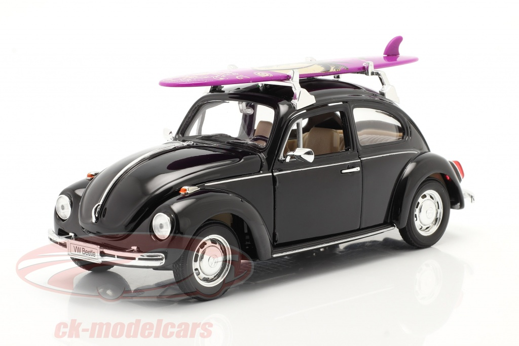 welly-1-24-volkswagen-vw-kaefer-hard-top-1959-noir-avec-violet-planche-de-surf-22436sb/
