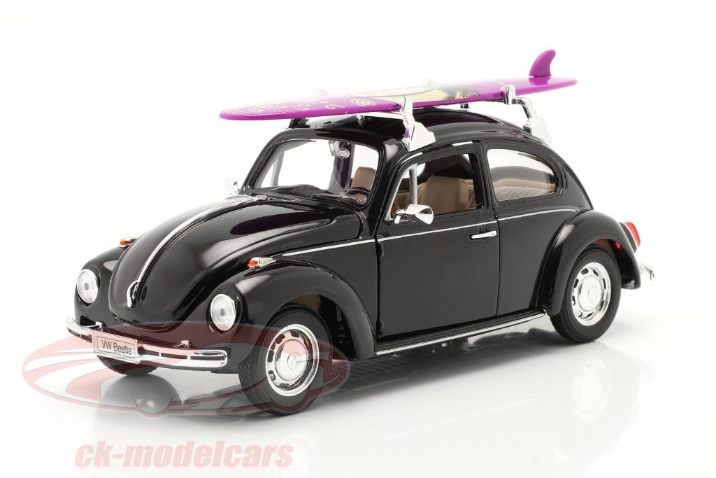 welly-1-24-volkswagen-vw-kaefer-hard-top-1959-zwart-met-purper-surfplank-22436sb/