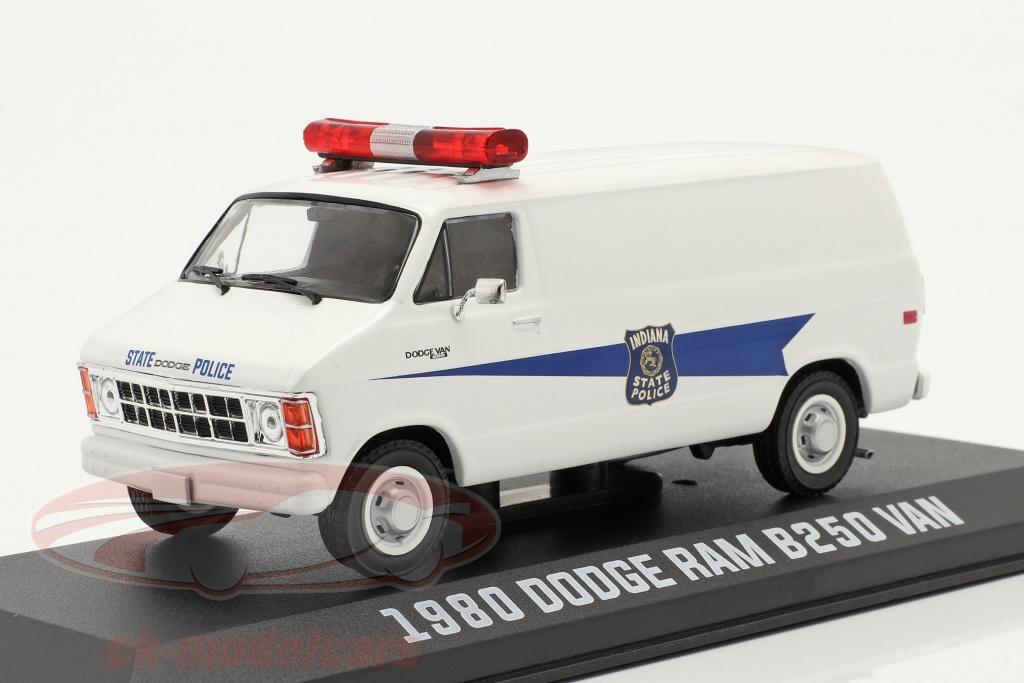 greenlight-1-43-dodge-ram-b250-camioneta-indiana-state-police-1980-blanco-86599/