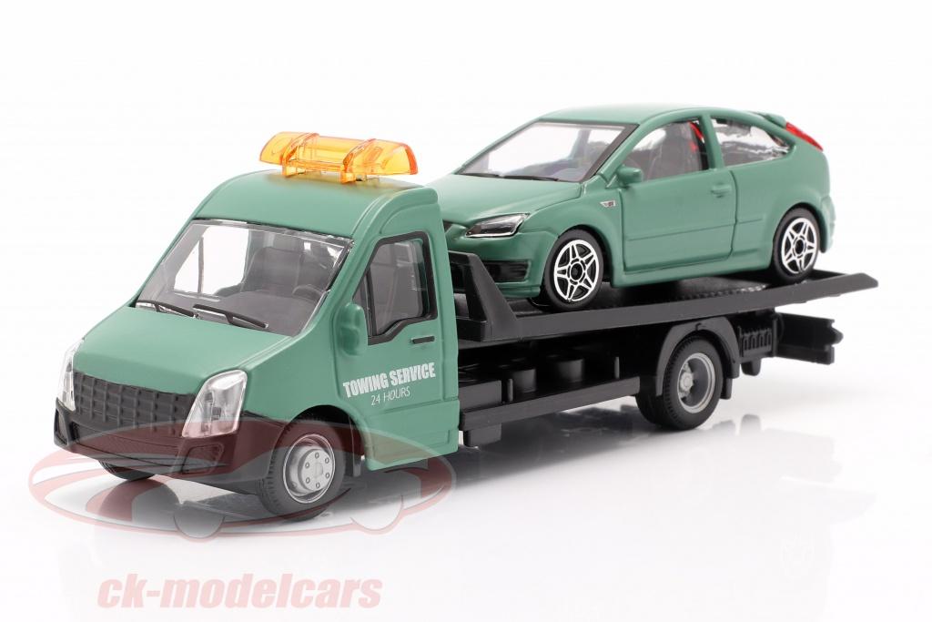 bburago-1-43-ford-focus-st-met-flatbed-transporter-donkergroen-18-31404/