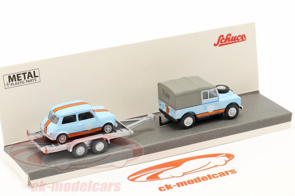 schuco-1-87-3-car-set-british-racing-land-rover-88-con-trailer-e-mini-452659500/