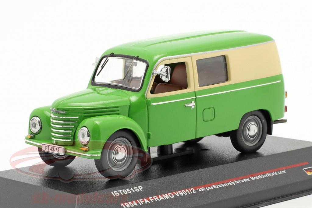 ixo-1-43-ifa-framo-v901-2-doos-bestelwagen-jaar-1954-groen-beige-ist-models-ist051sp/