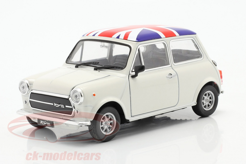 welly-1-24-mini-cooper-1300-with-uk-flag-on-the-roof-cream-22496uk-w/