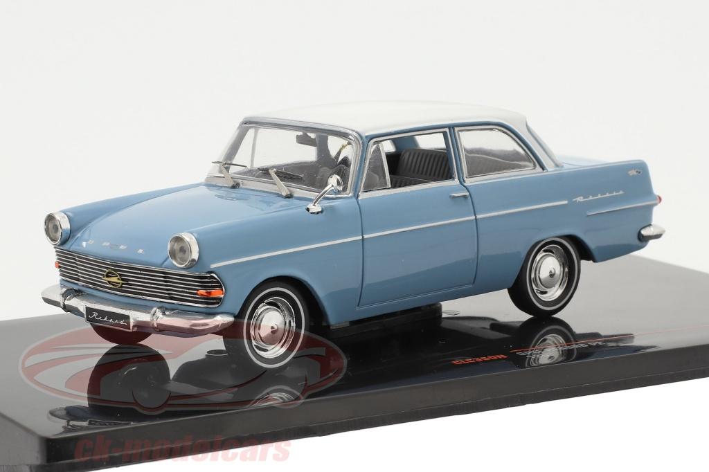 ixo-1-43-opel-rekord-p2-annee-de-construction-1961-bleu-clair-blanc-clc360n/