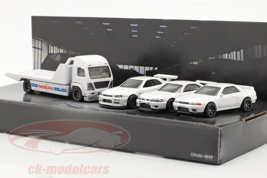 hotwheels-1-64-4-car-set-nissan-plateau-camion-3x-nissan-skyline-blanc-gmh39-956f/