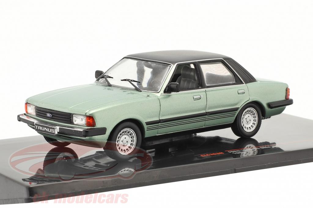 ixo-1-43-ford-taunus-ghia-year-1983-light-green-metallic-black-clc363n/
