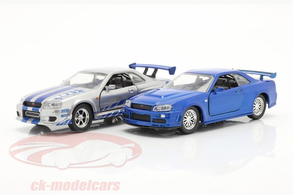 jadatoys-1-32-2-car-set-fast-furious-brians-nissan-skyline-gt-r-blau-silber-253204004/