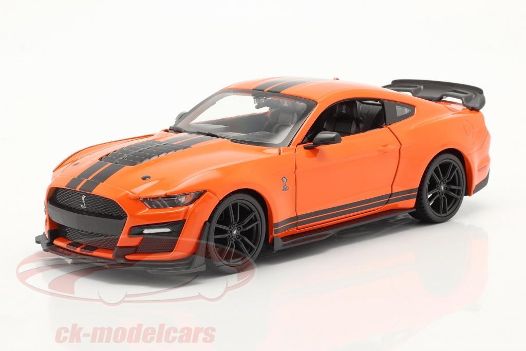 maisto-1-24-ford-mustang-shelby-gt-500-annee-de-construction-2020-orange-noir-31532/