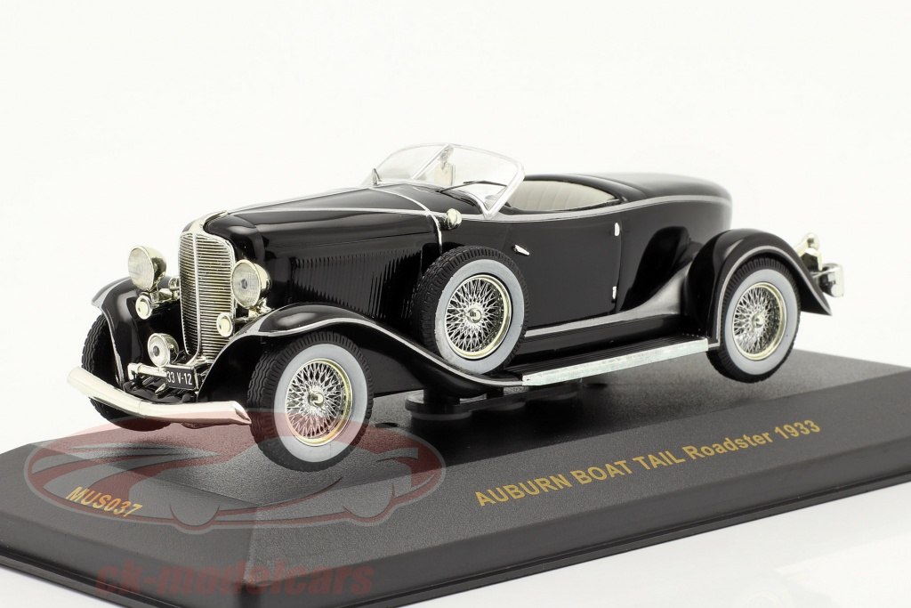 ixo-1-43-auburn-boat-tail-roadster-annee-1933-noir-noir-mus037/