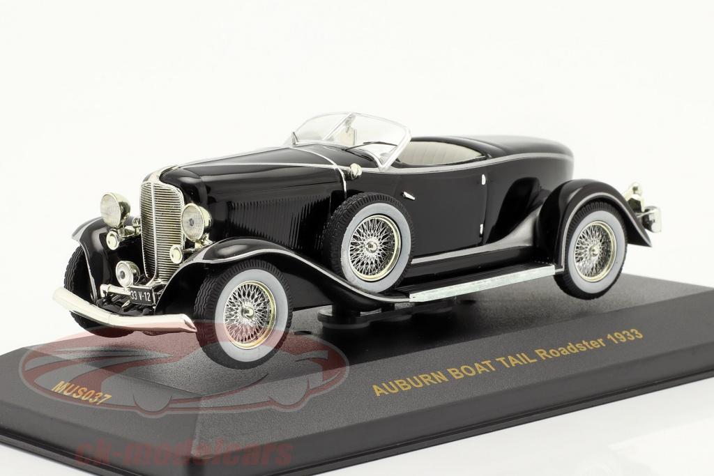 ixo-1-43-auburn-boat-tail-roadster-bj-1933-zwart-zwart-mus037/