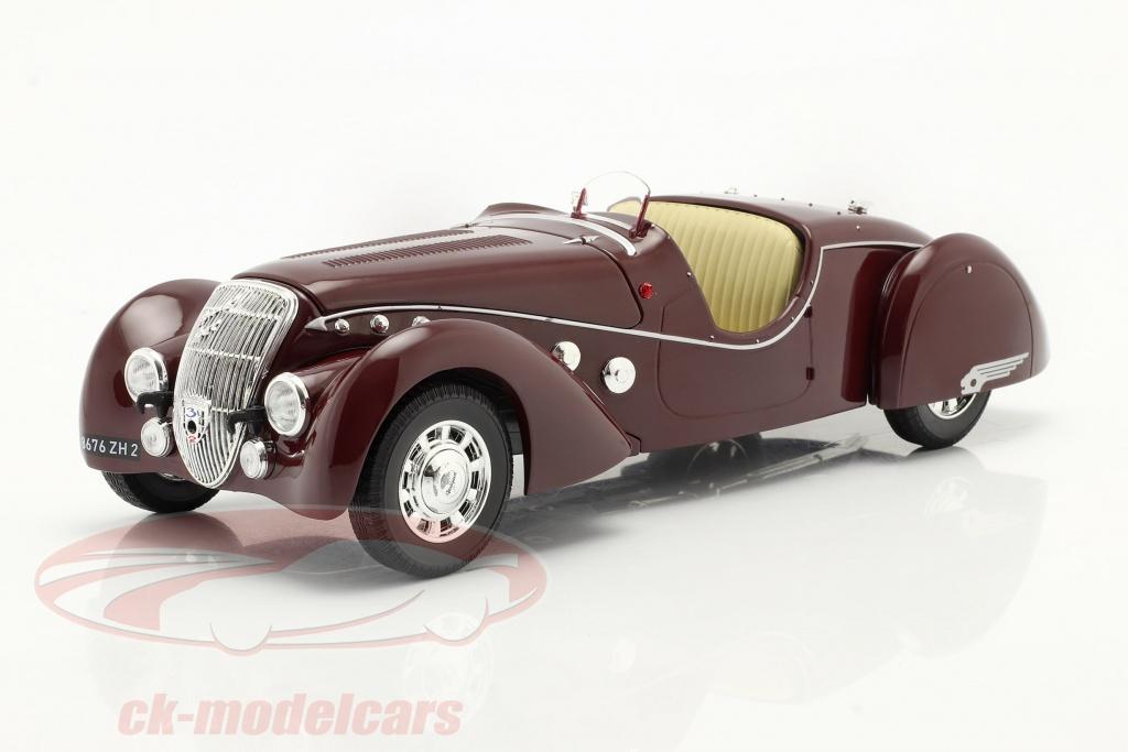 norev-1-18-peugeot-302-darlmat-roadster-ano-de-construcao-1937-vermelho-escuro-metalico-184695/