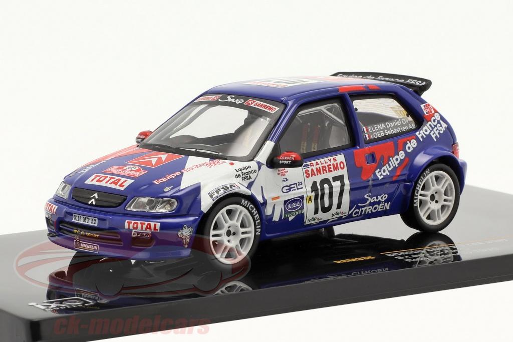 ixo-1-43-citroen-saxo-kit-car-no107-rallye-sanremo-1999-loeb-elena-ram336/